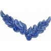 Motif Sequin/beads 26x8cm Leaf Shape Royal Blue